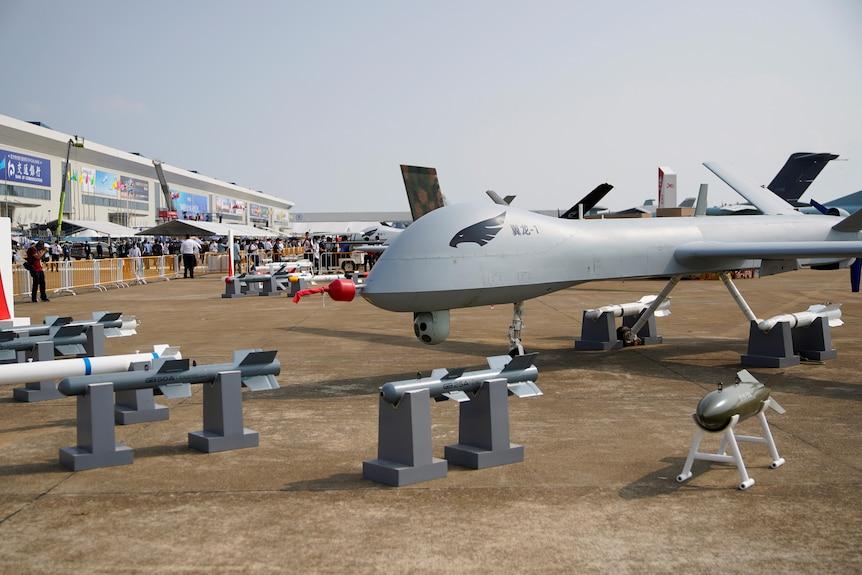 A drone aircraft on a tarmac.