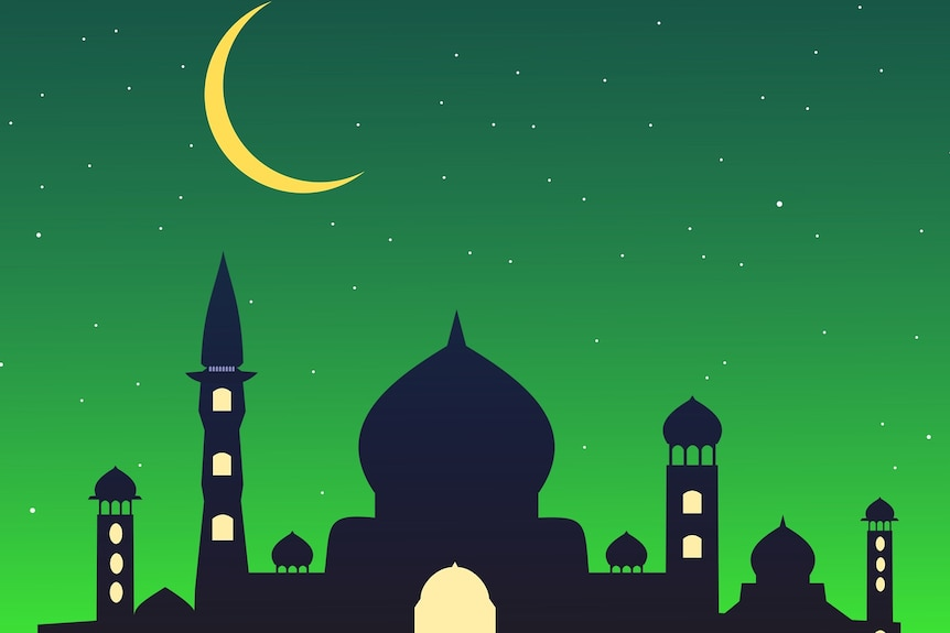 A graphic of a mosque silhouette against a green background.