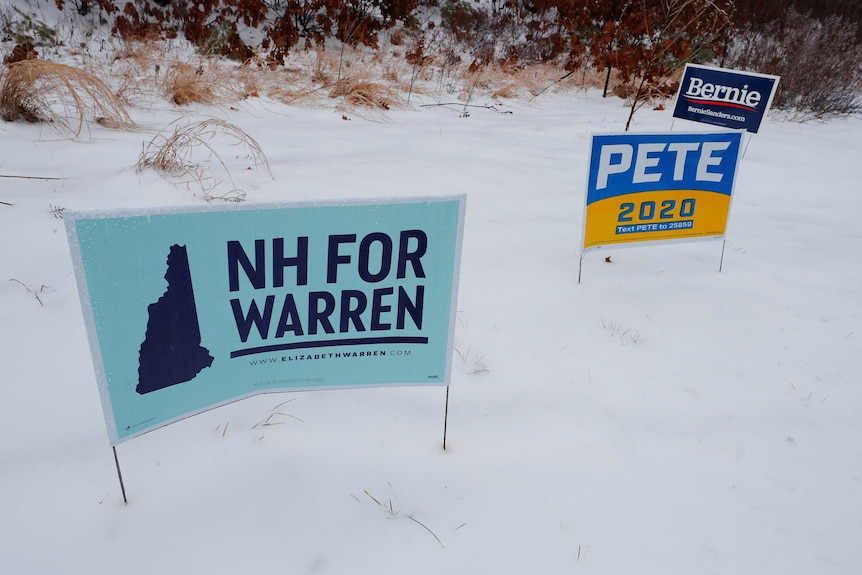 ampaign signs for Democratic 2020 U.S. presidential candidates