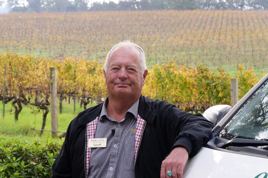 A man stands in front of a vineyard, arm resting on a vehicle.