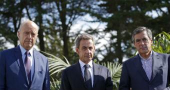 Alain Juppe, Nicolas Sarkozy and Francois Fillon