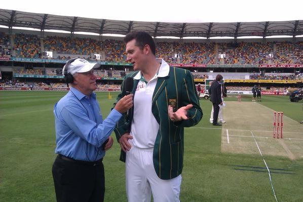 Jim Maxwell interviews Graeme Smith, day one first Test at Gabba Nov 9 2012