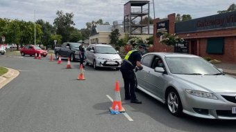 A checkpoint on the Lincoln Causeway in Wodonga following the Victoria border closure.