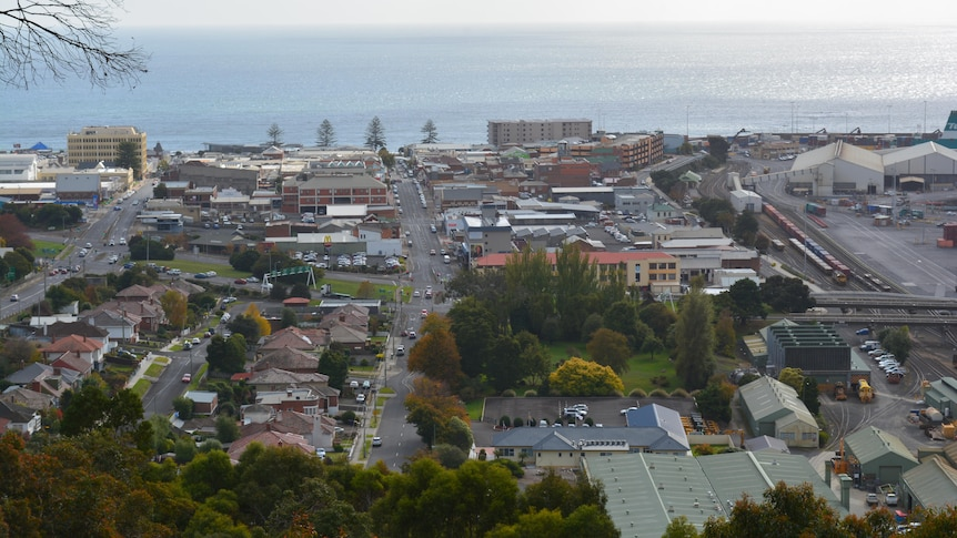 A view of seaside town from a hill
