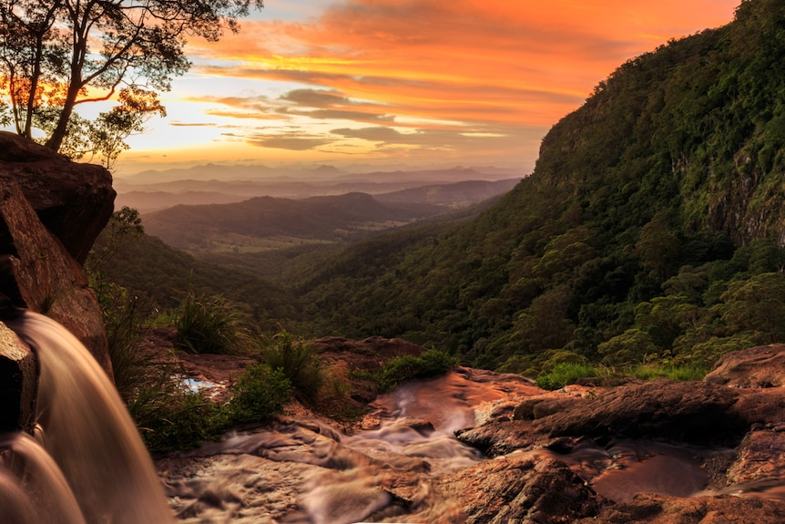 The view from Morans Falls in the Gold Coast hinterland in a tourism story about regional areas and natural disasters.