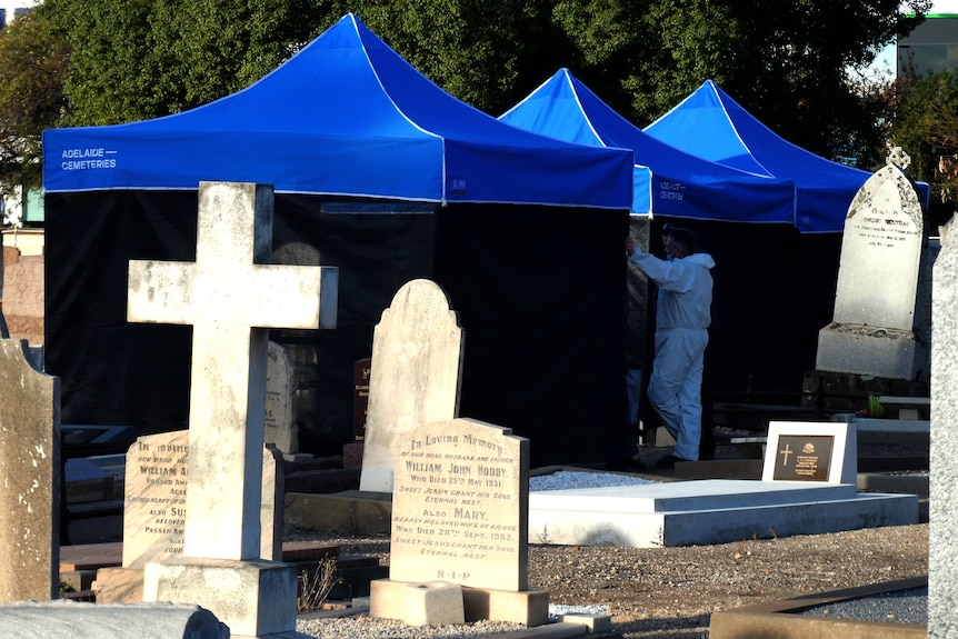 Police tents in Adelaide's West Terrace Cemetery.