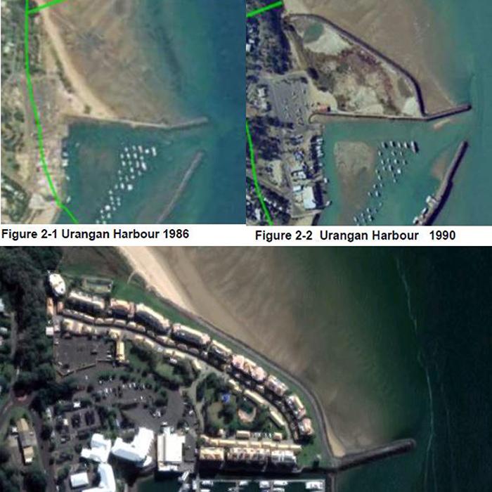 Resort site development on beach of Urangan harbour on Queensland's Fraser Coast in 1986, 1990 and 2018
