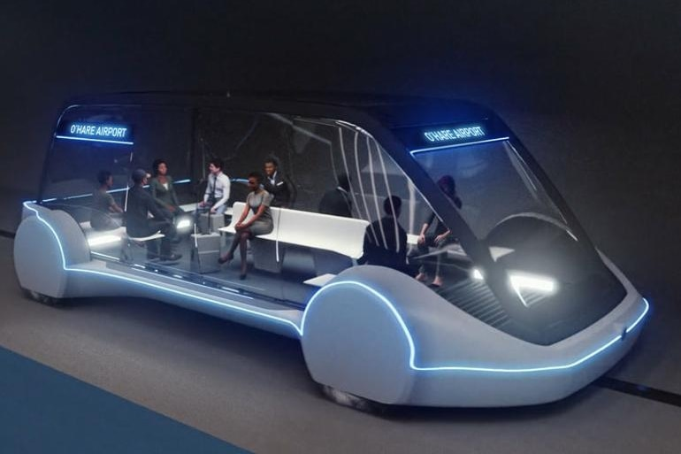 A concept image of a large electric car with nine passengers inside.