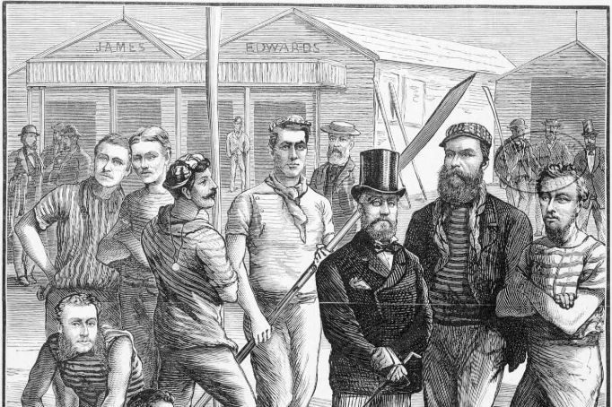 A lino cut image shows the members of a Victorian state rowing team from the late 1800s.