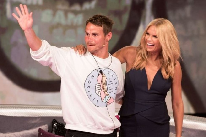 Big Brother contestant Sam Bramham with Big Brother host Sonia Kruger (1)