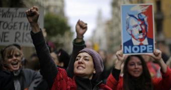 Women march in Barcelona
