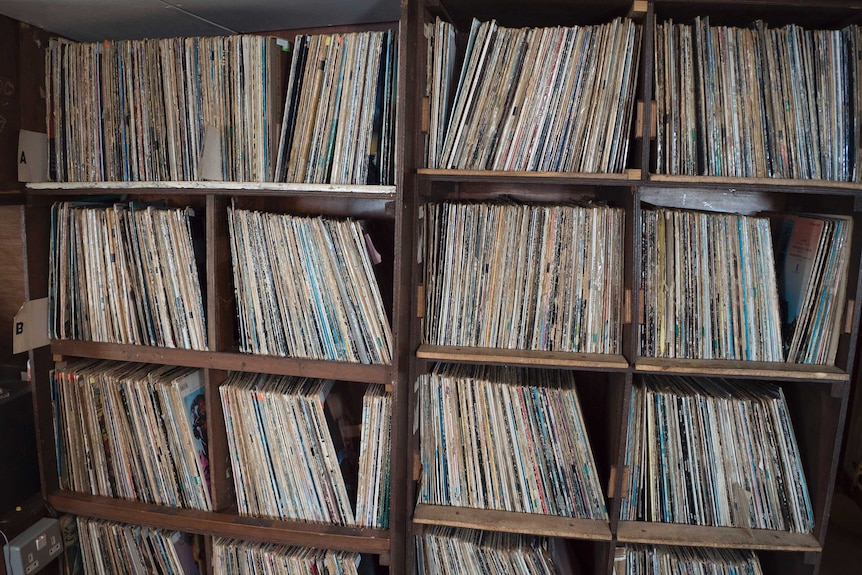 Shelves of records.