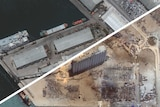 THUMBNAIL ONLY Beirut's port before and after the explosion