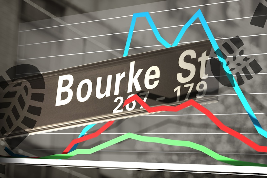 Graphic showing Bourke Street sign with chart and footprints.