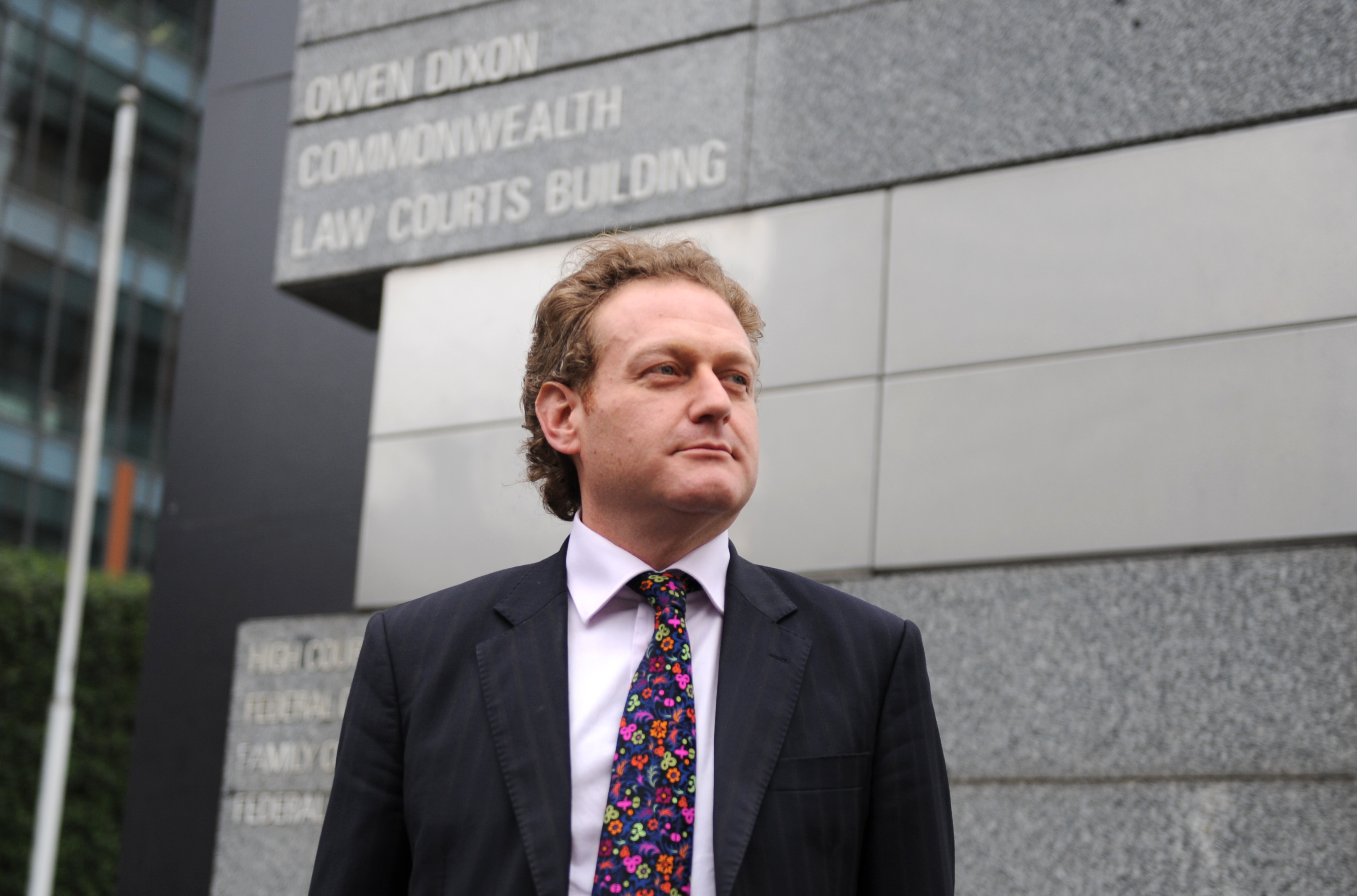 Lawyer David Manne waits outside the Federal Court in Melbourne