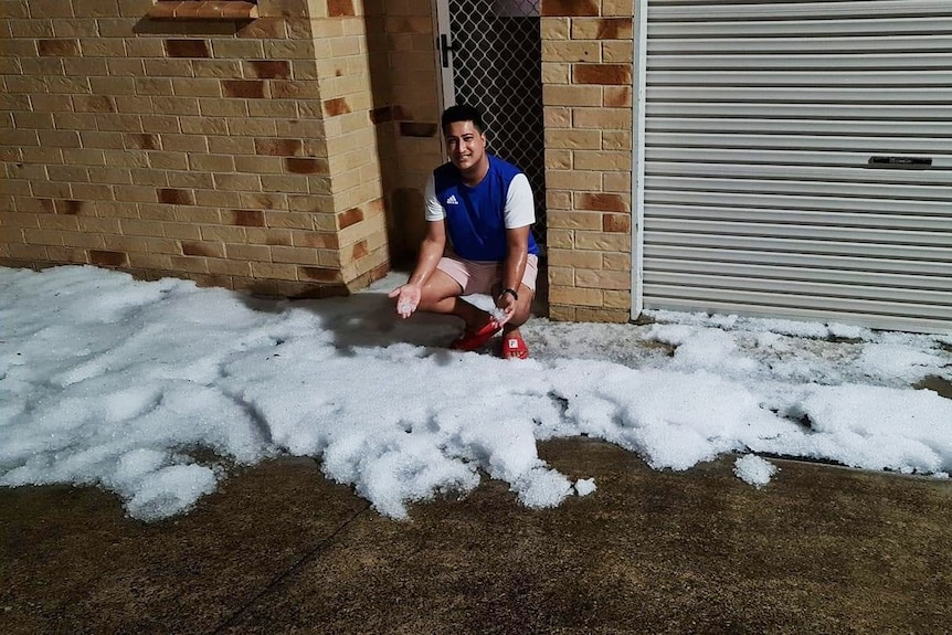 Hail after a storm in Maroochydore