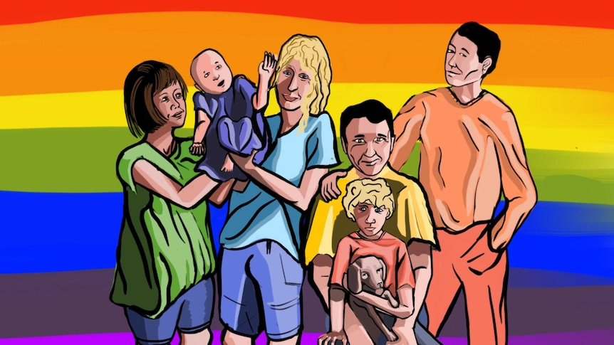 Four parents and two children standing against a rainbow backdrop.