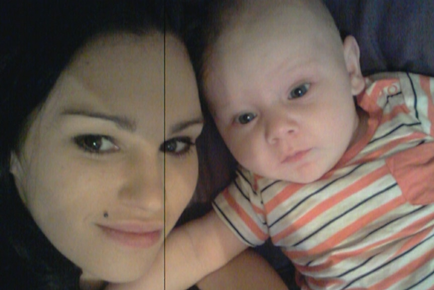 Michelle Dearing poses for a Facebook selfie with her infant son Chayse.