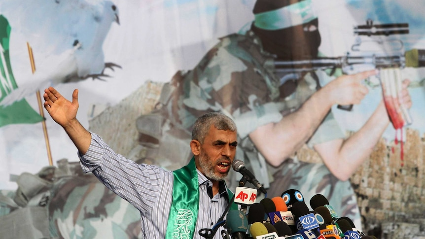 Freed Palestinian prisonerYehiyaSinwar, a founder of Hamas' military wing, talks during a rally in the Gaza Strip in 2011.