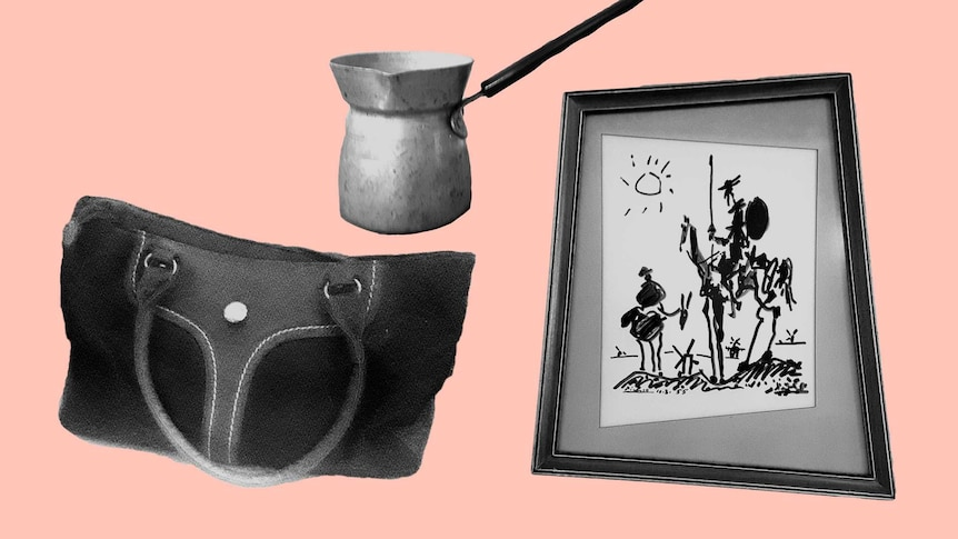 A composite of an aluminium jug, painting and handbag to depict the objects you can't get rid of after a loved one's death.