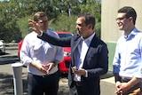 Steven Marshall with Liberal MP for Morialta John Gardner and candidate for Kavel Dan Cregan.
