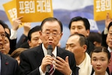 Former UN chief Ban Ki-moon speaks during a news conference.