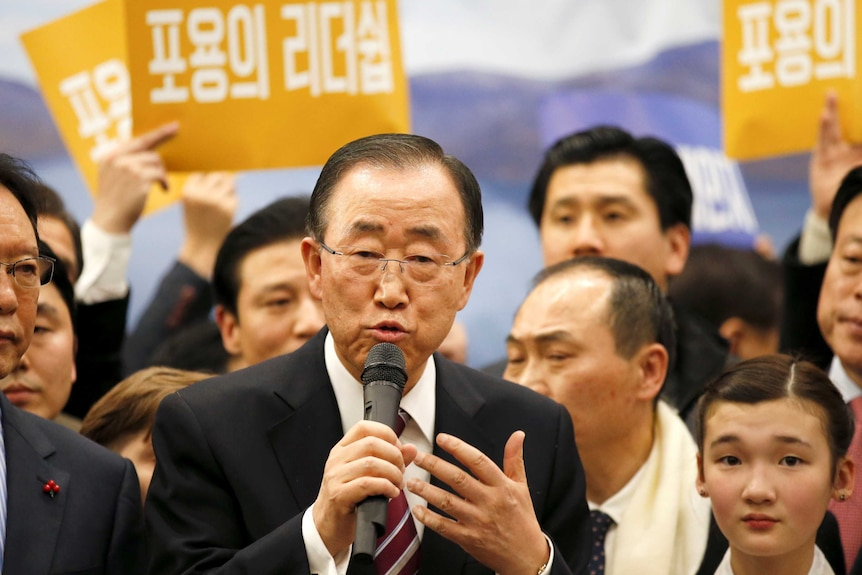 Former UN chief Ban Ki-moon was speaking at a news conference.