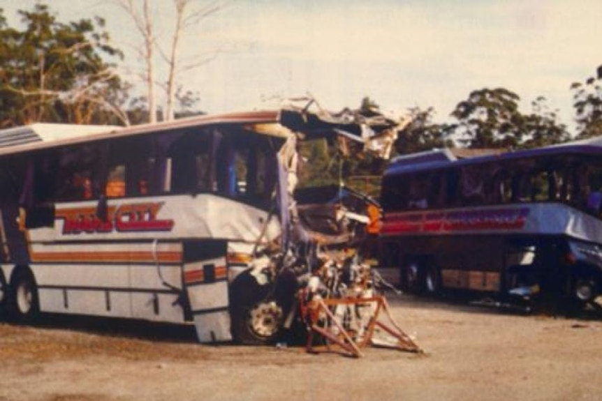 An old colour picture of a smashed bus that had been involved in a crash