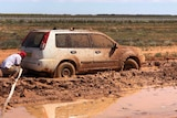 Bogged car about to get towed in outback New South Wales