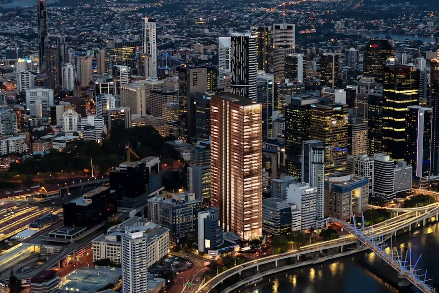 A concept image of a tall office tower in the Brisbane CBD