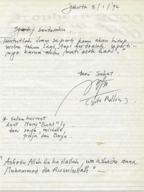 A letter with some words in Indonesian