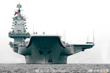A front view of China's first homemade aircraft carrier Type 001A.