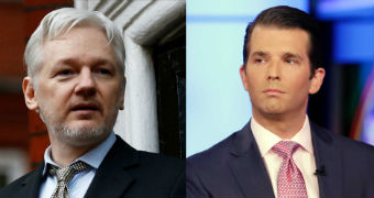 WikiLeaks founder Julian Assange in a composite picture next to Donald Trump Jr.