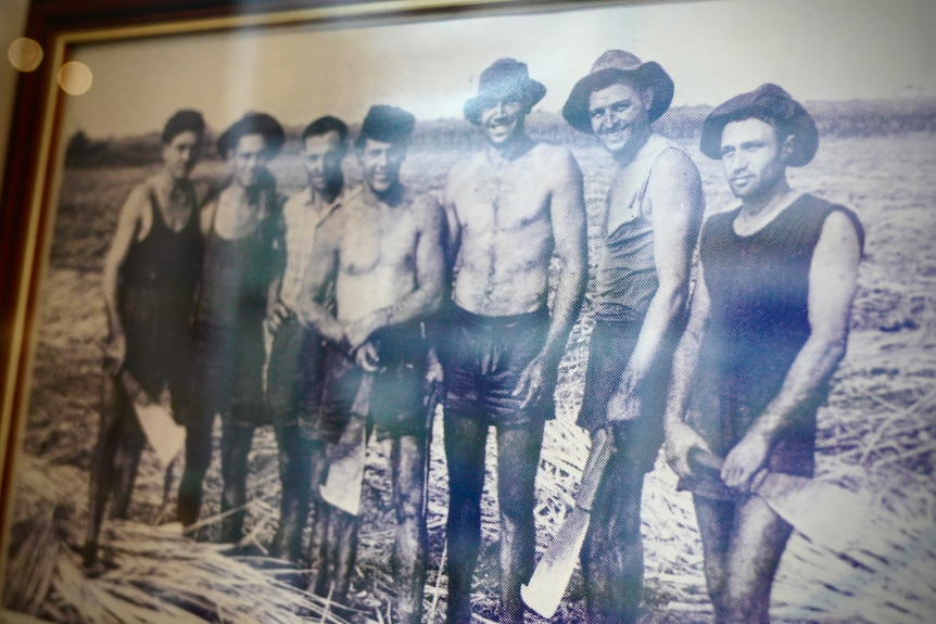 An old photo of a group of seven canecutters in their work gear, some with a shirt or singlet on, others with bare chests