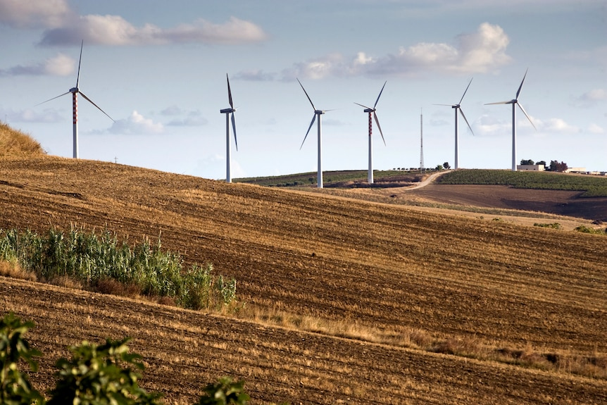 Wind turbines on a hill surrounded by fields.