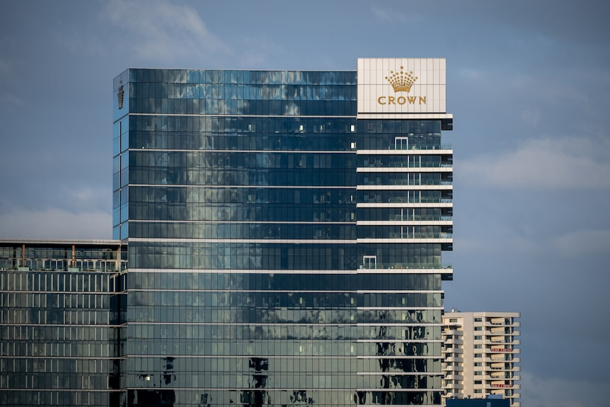 A wide shot of the top floors of Crown Towers Perth.
