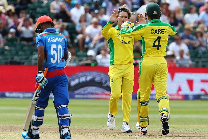 Alex Zampa hi-fives his teammate after dismissing Hashmatullah Shahid, who trudges off back to the pavillion.