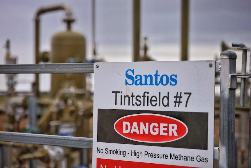 'Danger' sign on a methane well near Narrabri