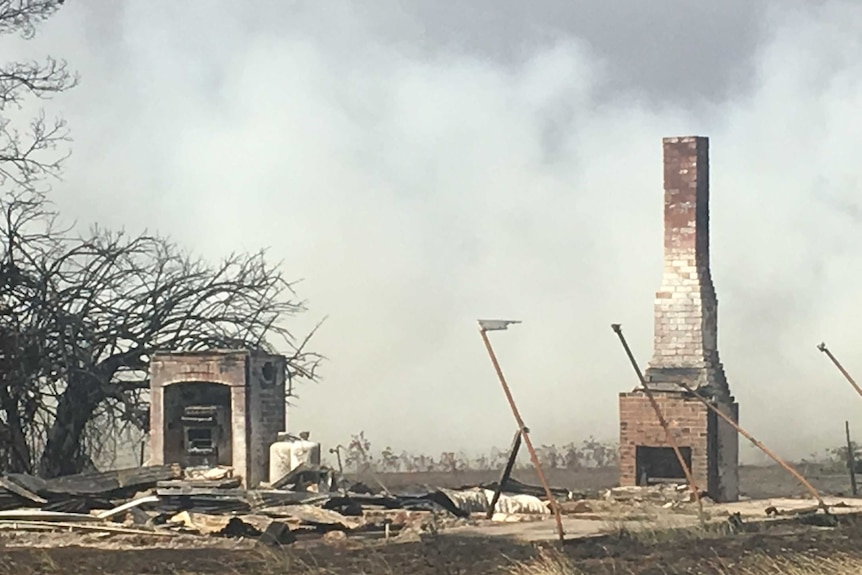 The ruins of a house destroyed by fire at Terang, in western Victoria on March 18, 2018.