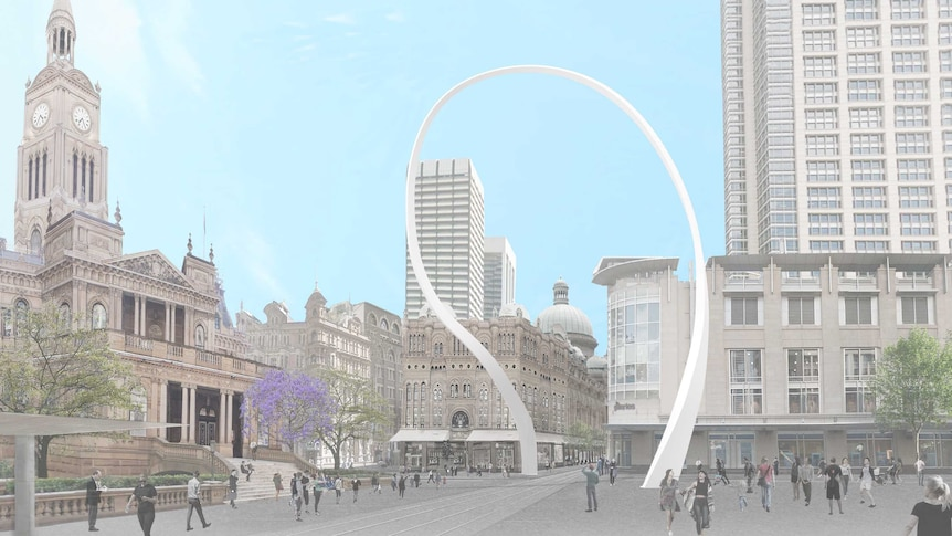 An illustration shows an artist's impression of Cloud Arch, a public artwork that consists of a curved, white archway.