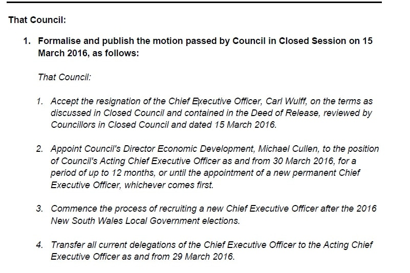 """Minutes showing the council """"accept[ed] the resignation of the Chief Executive Officer, Carl Wulff""""."""