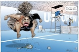 Serena Williams jumps on a broken racket as the umpire of the match asks her opponent 'can you just let her win?'