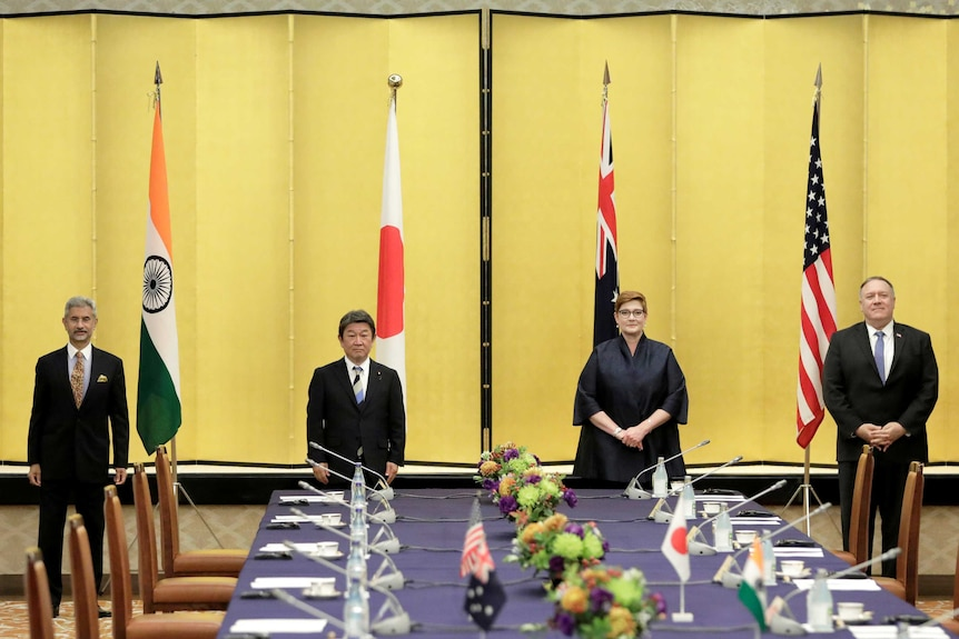 The foreign ministers of India, Japan, Australia and the US pose for a photo