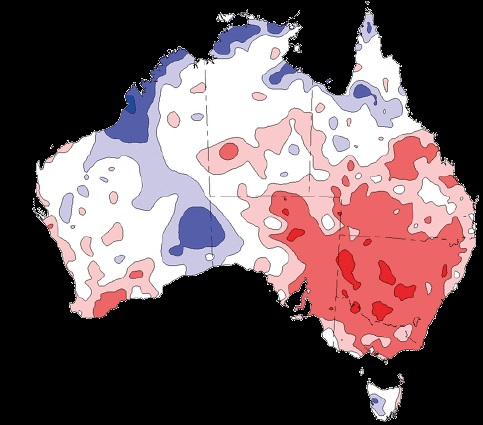 A picture of Australia with areas of rainfall deficit marked in red and the highest rainfall areas marked in purple.