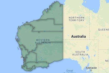 A screenshot showing a map of Australia with WA highlighted in dark green and lines displaying the state's electoral boundaries.