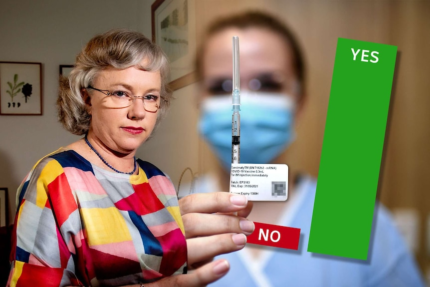 A graphic showing a woman, a needle and a graph with yes and no