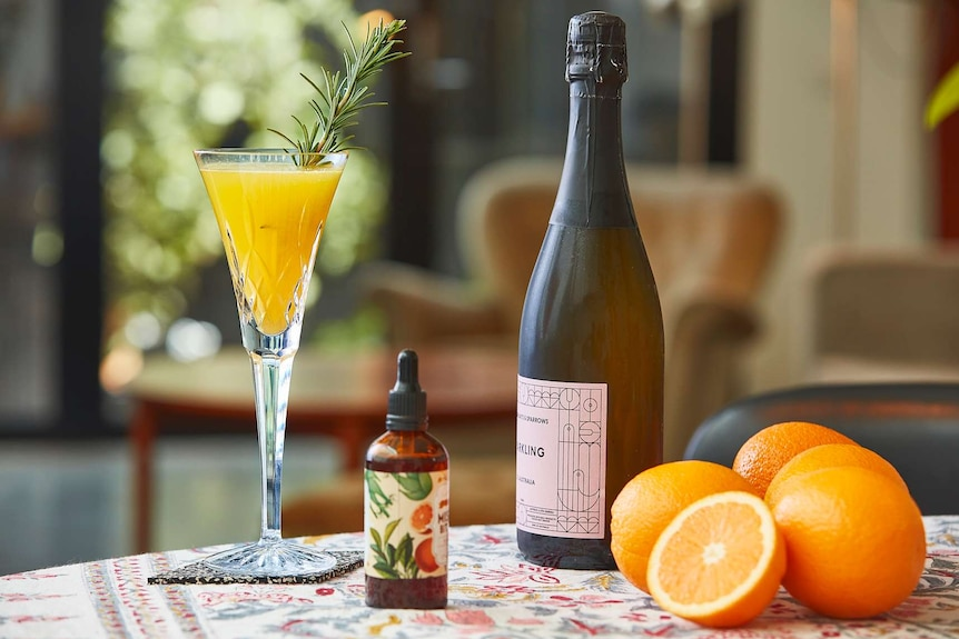 Rosemary and bitters mimosa in a glass, surrounded by ingredients to depict a collection of low-alcohol cocktail recipes.