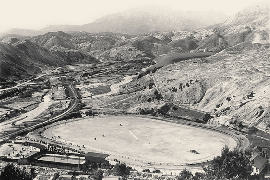 Aerial view of gravel oval, 1930s