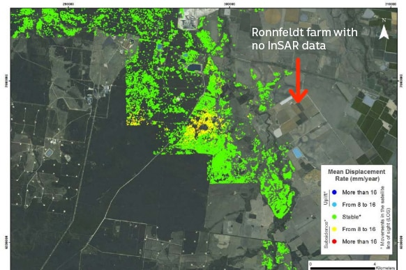 A map of green and yellow representing ground level data near Zena Ronnfeldt's farm from the Arrow Energy approval.