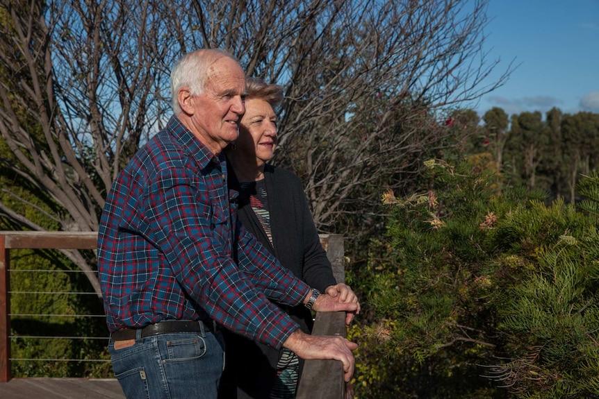 Retired farmer Brendan Freeman with his wife Fran at their home in Esperance, WA.